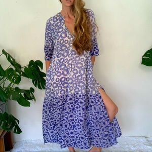 Roberta Freymann S Navy Long CoverUp Dress pockets